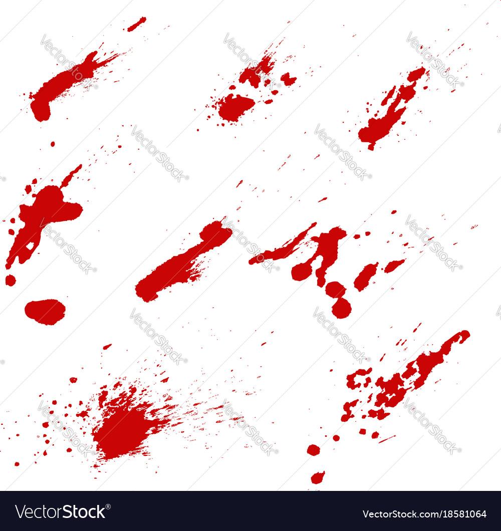 Set of blood splashes isolated on white vector image