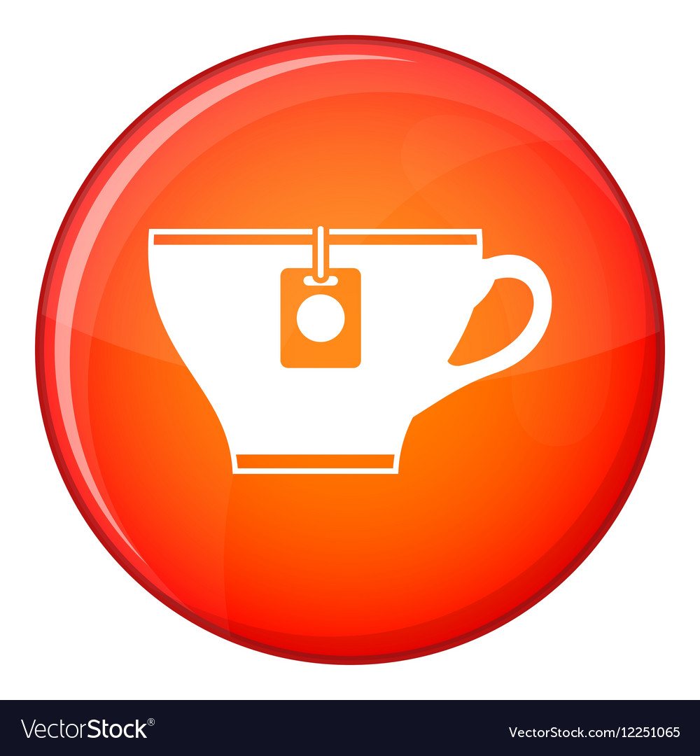 Cup with teabag icon flat style vector image