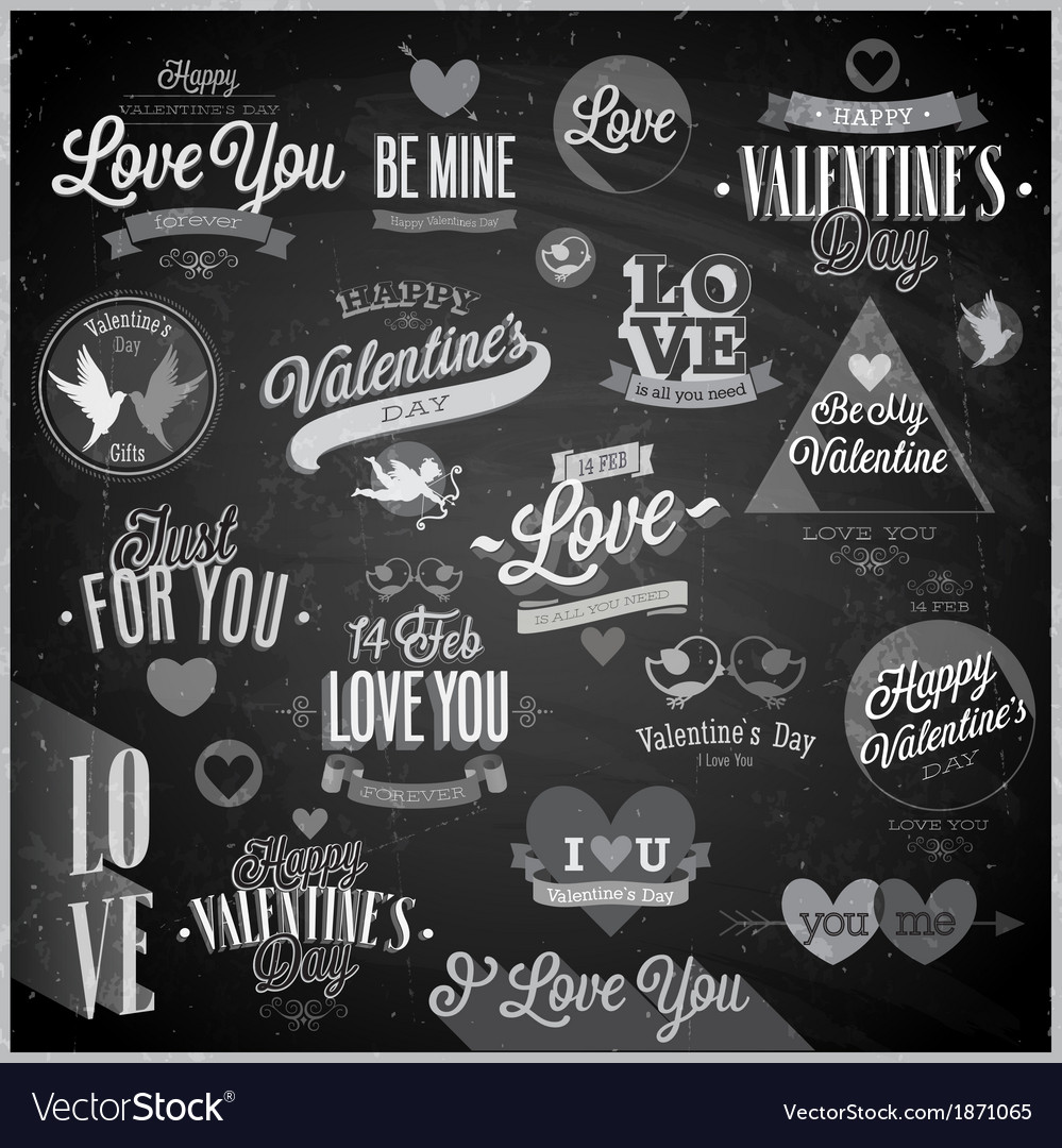 Valentine emblems chalk vector image