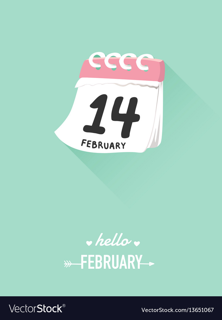 14th february on calendar for valentine concept vector image