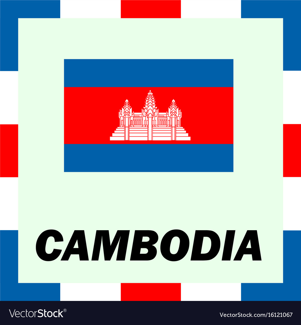 Official ensigns flag and coat of arm of cambodia vector image