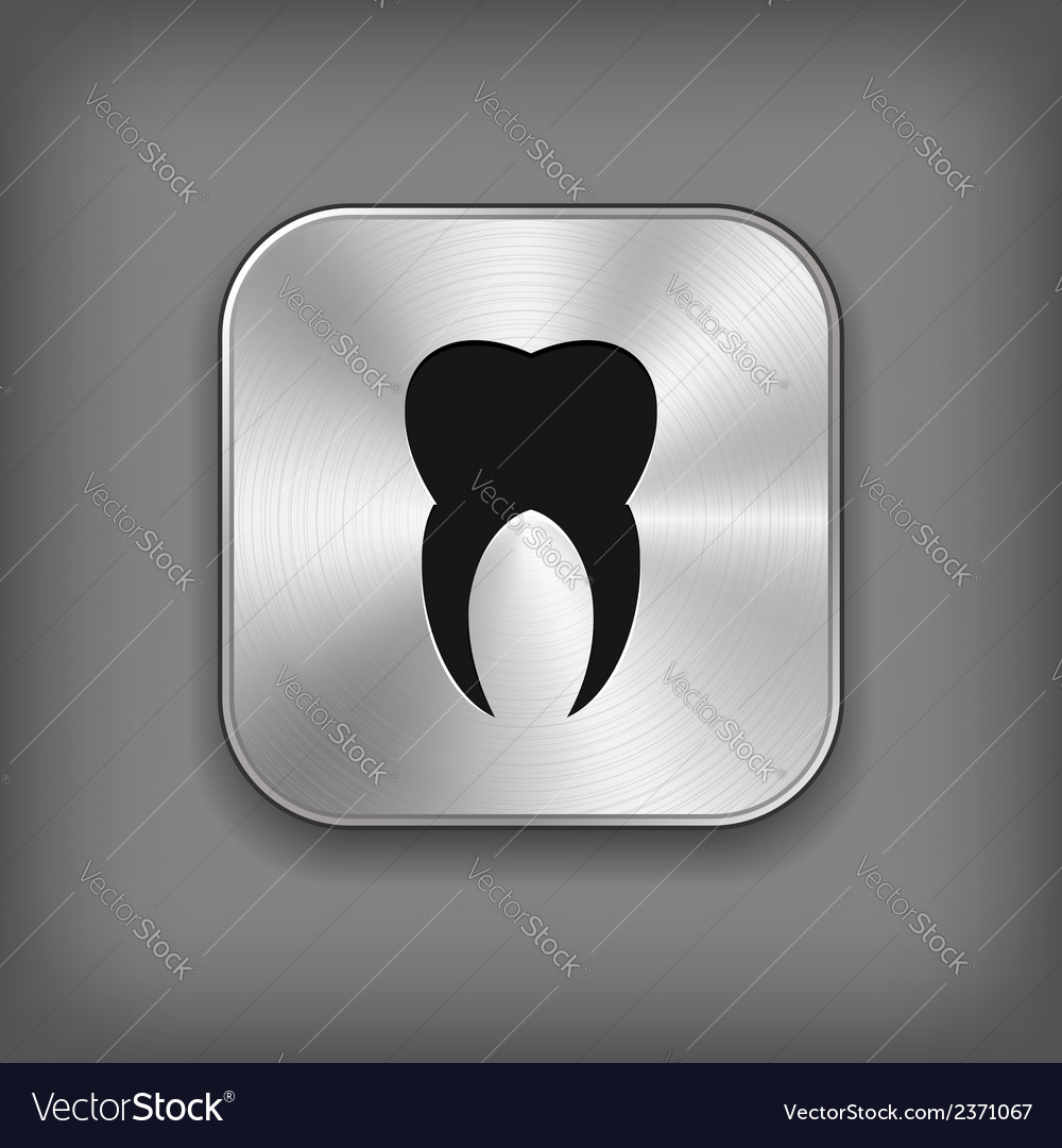 Tooth icon - metal app button vector image
