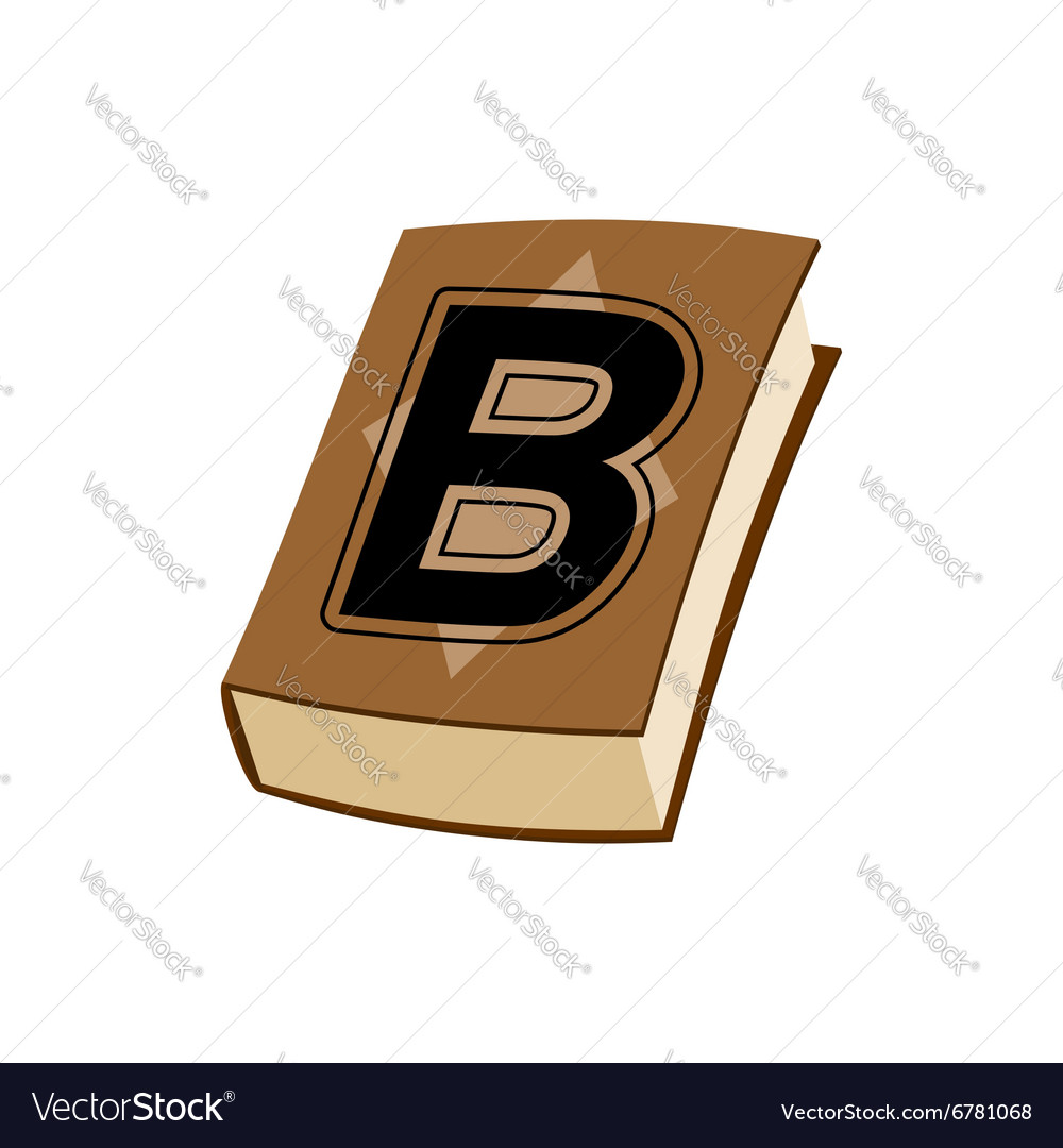 Letter B at Vintage books in hardcover vector image