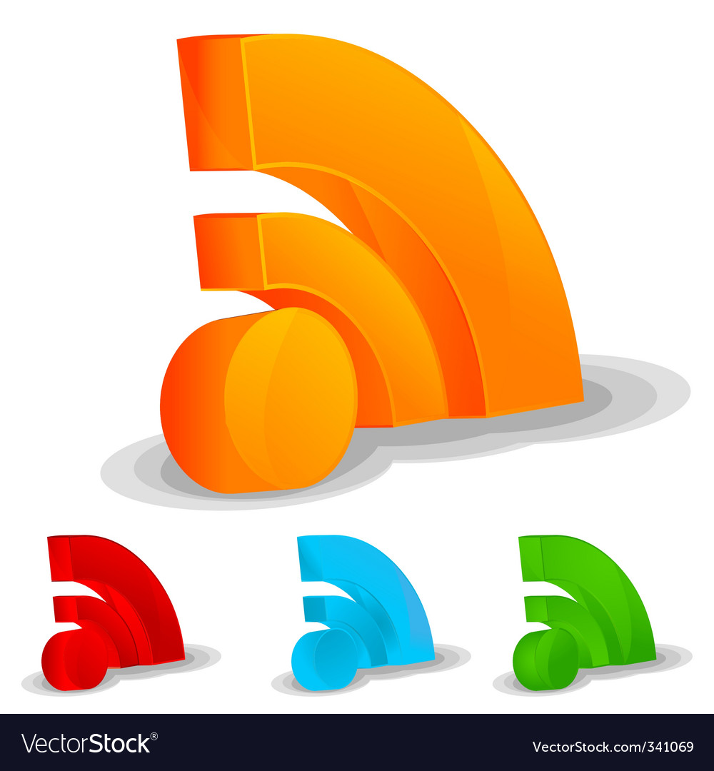 RSS feed icon set vector image