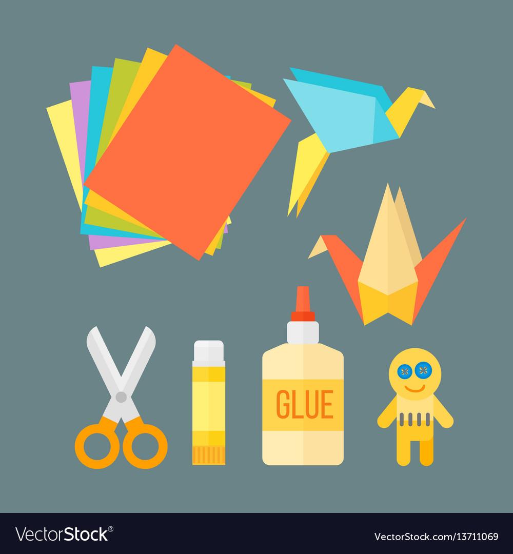 Themed kids origami creativity creation symbols vector image