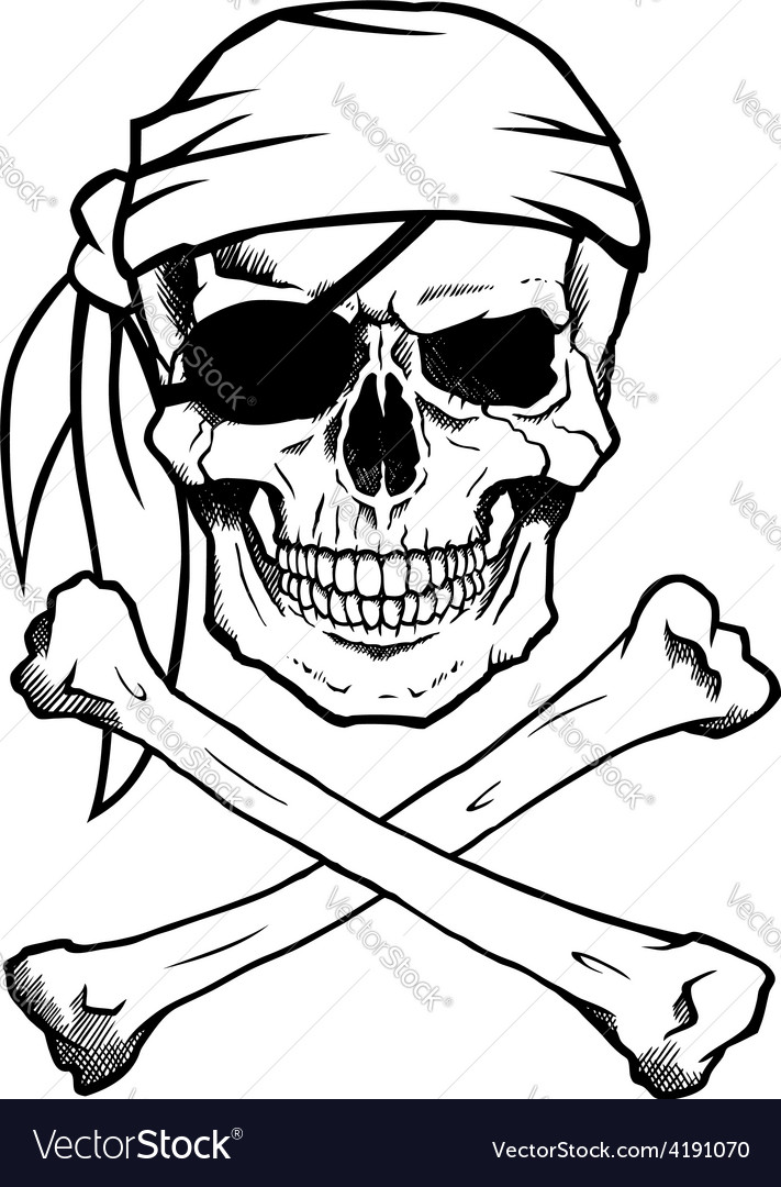 jolly roger pirate skull and crossbones royalty free vector