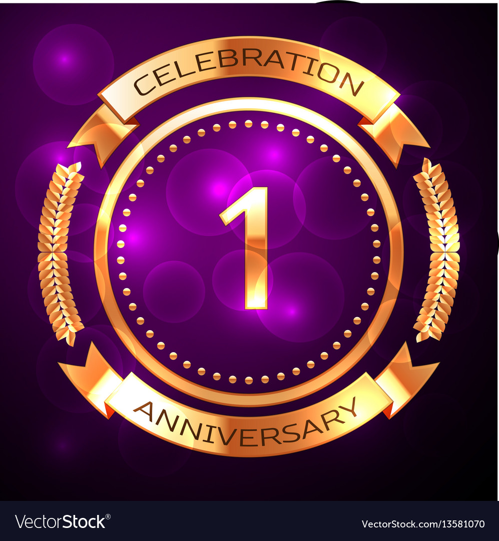 One years anniversary celebration with golden ring vector image