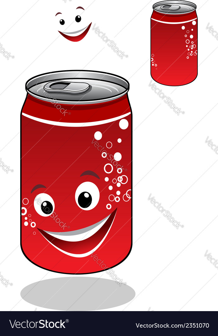 Red soda can with bubbles and a happy smile vector image