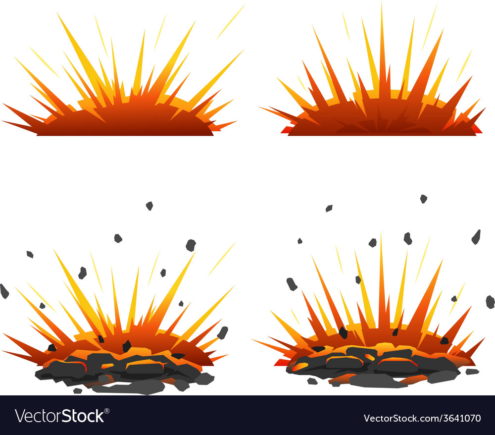 Set of explosions vector image