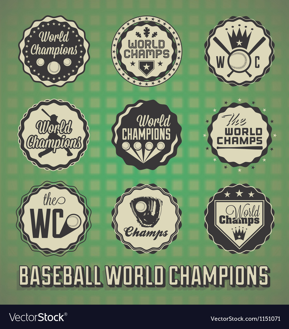 Baseball World Champions Labels and Icons vector image