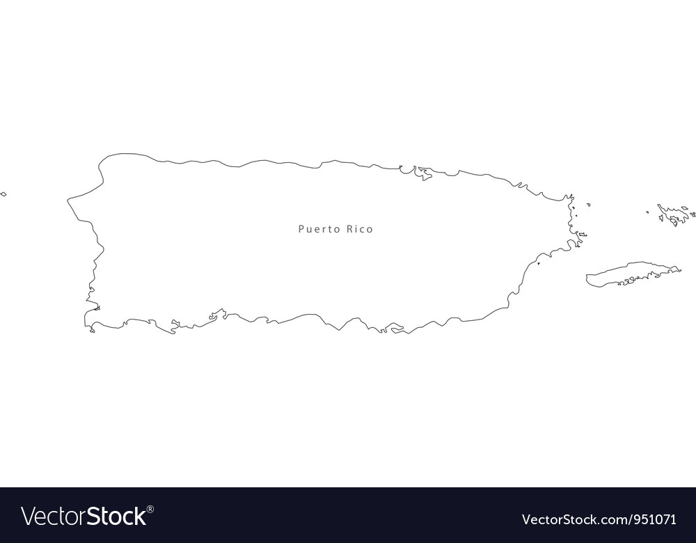 Black White Puerto Rico Outline Map vector image