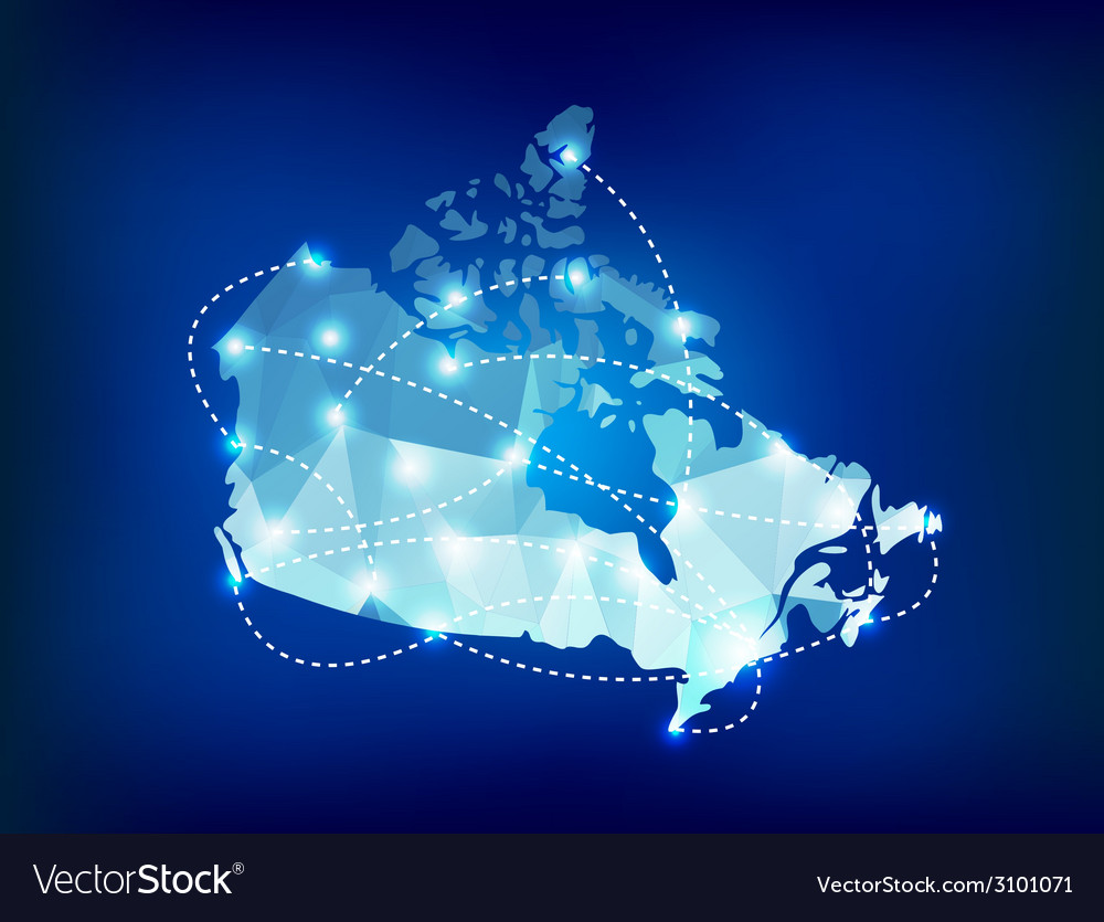 Canada country map polygonal with spot lights vector image