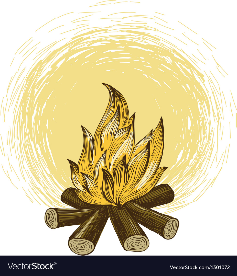 Bonfire in engraving style vector image