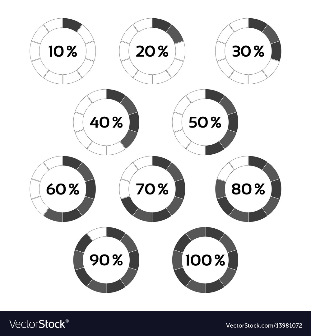 Circle diagram ten steps percentage indicators vector image ccuart Images