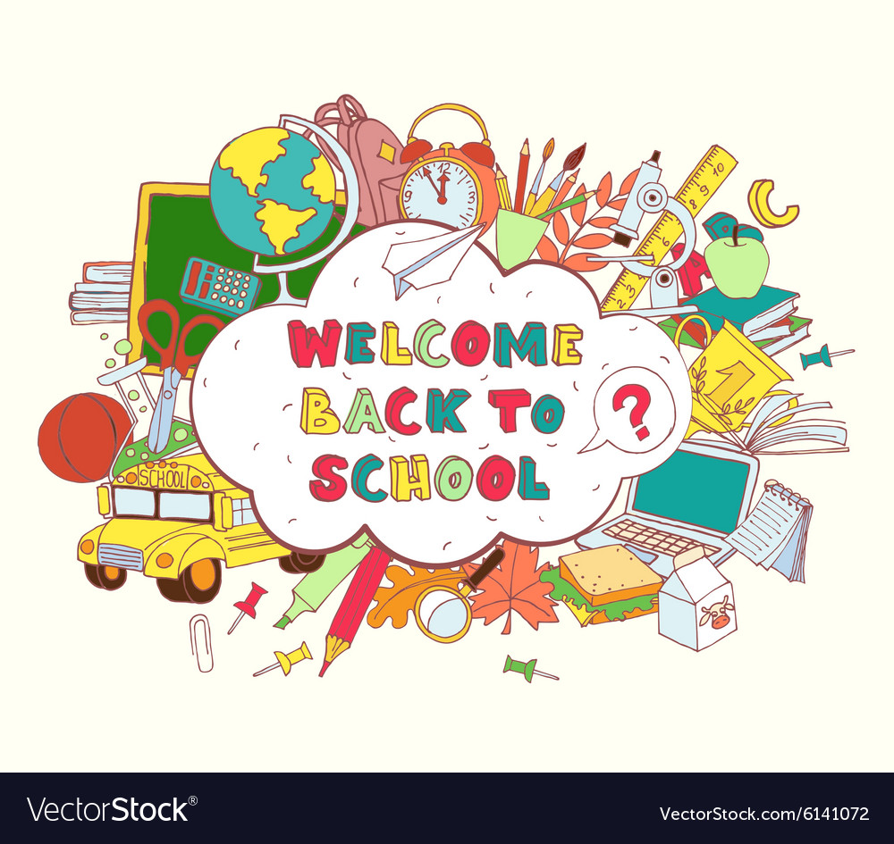 Cloud frame greeting card welcome back to school vector image kristyandbryce Choice Image