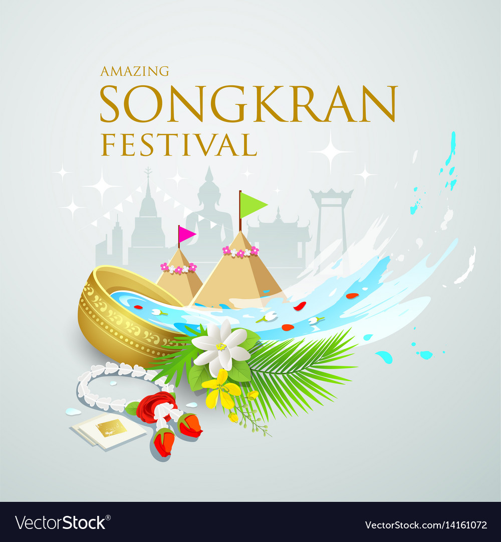 Songkran festival water splash of thailand vector image