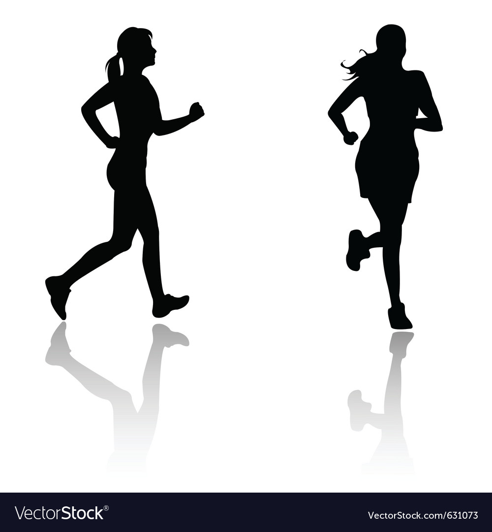 Silhouette run woman vector image
