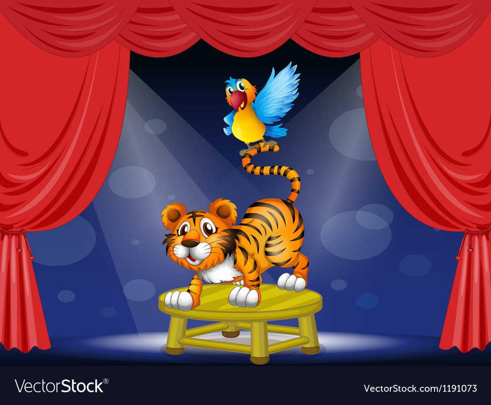 A tiger and a colorful parrot performing on the vector image