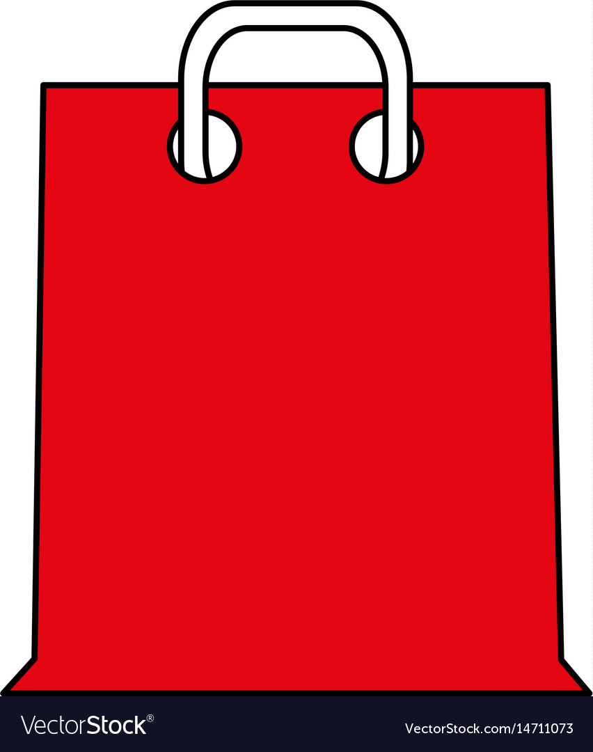 Color silhouette cartoon red bag for shopping with vector image