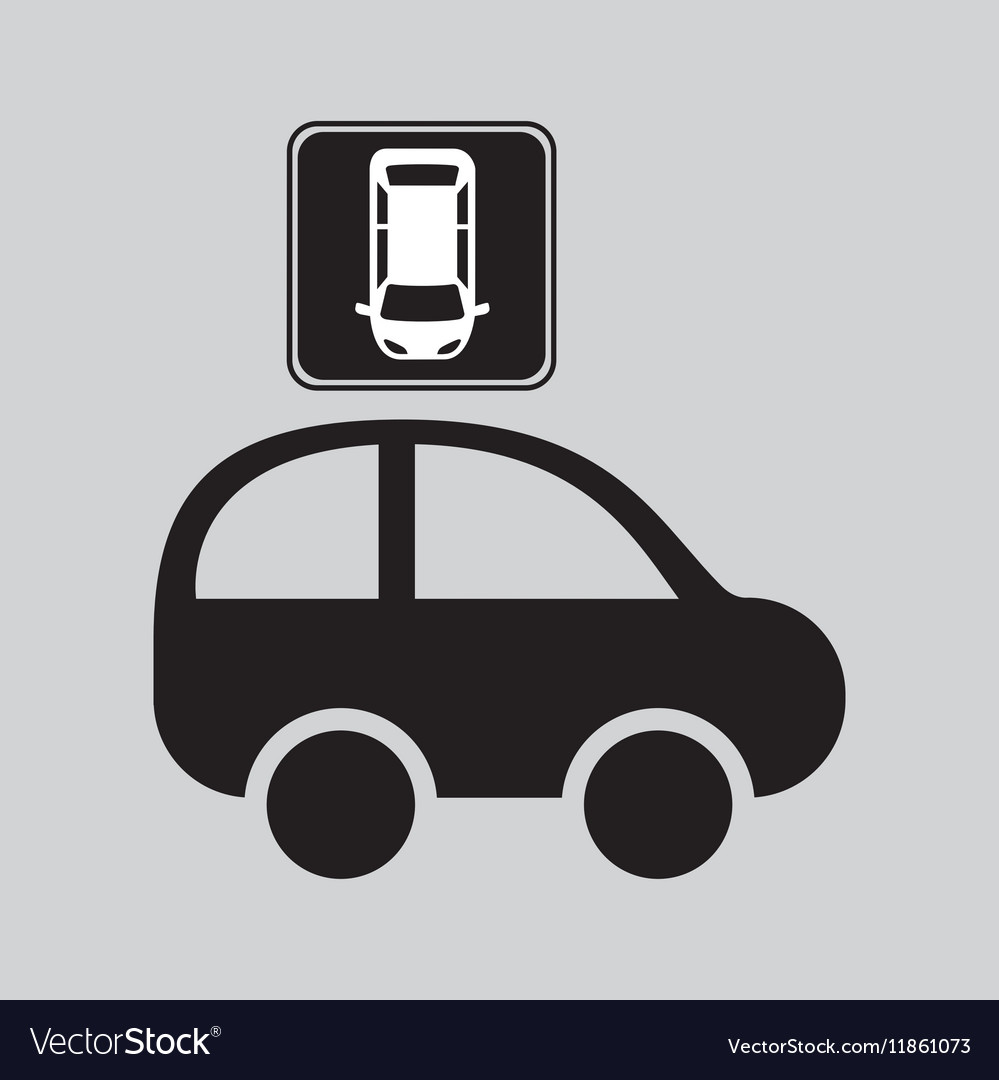 Parked car top view sign vector image