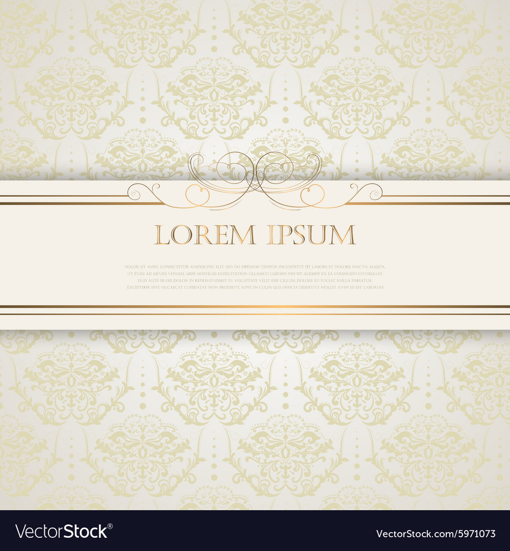 Vintage background with golden silk pattern vector image