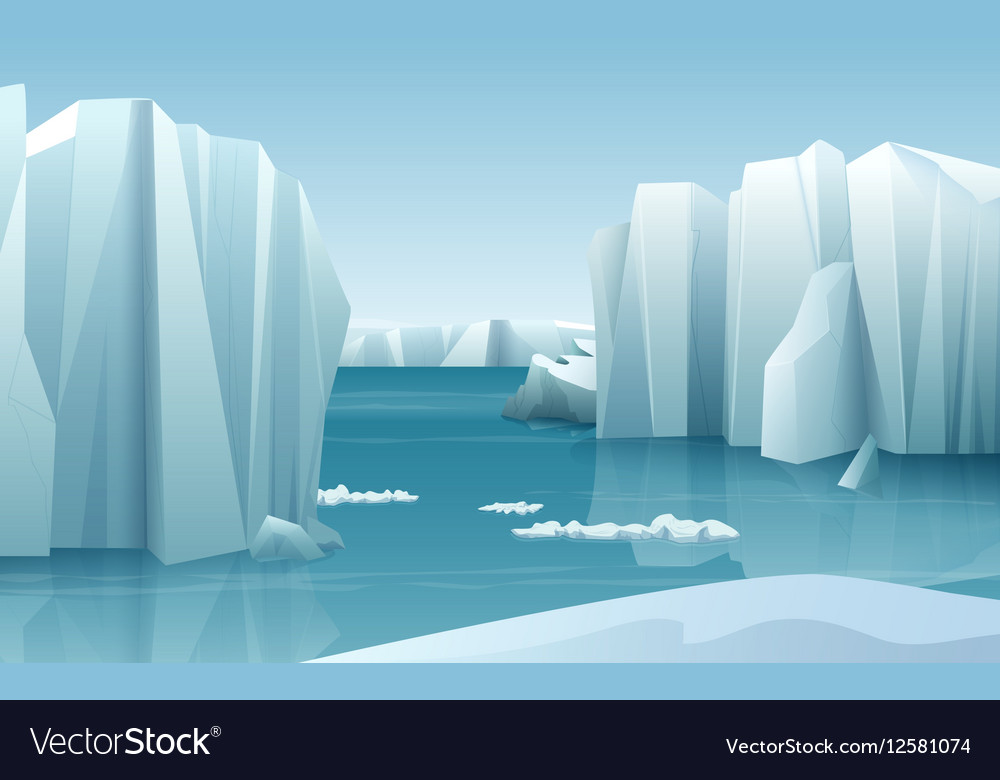 Cartoon realistic nature winter arctic ice vector image
