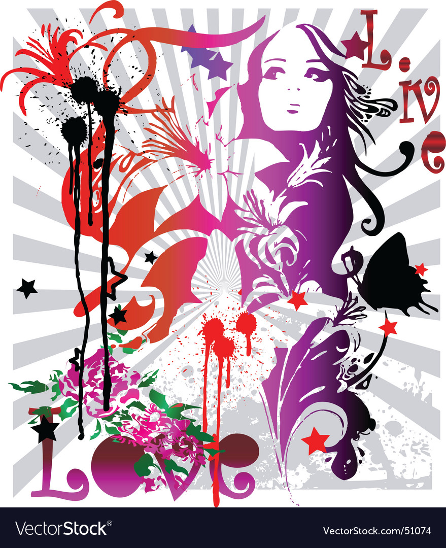 Grunge floral graphics vector image