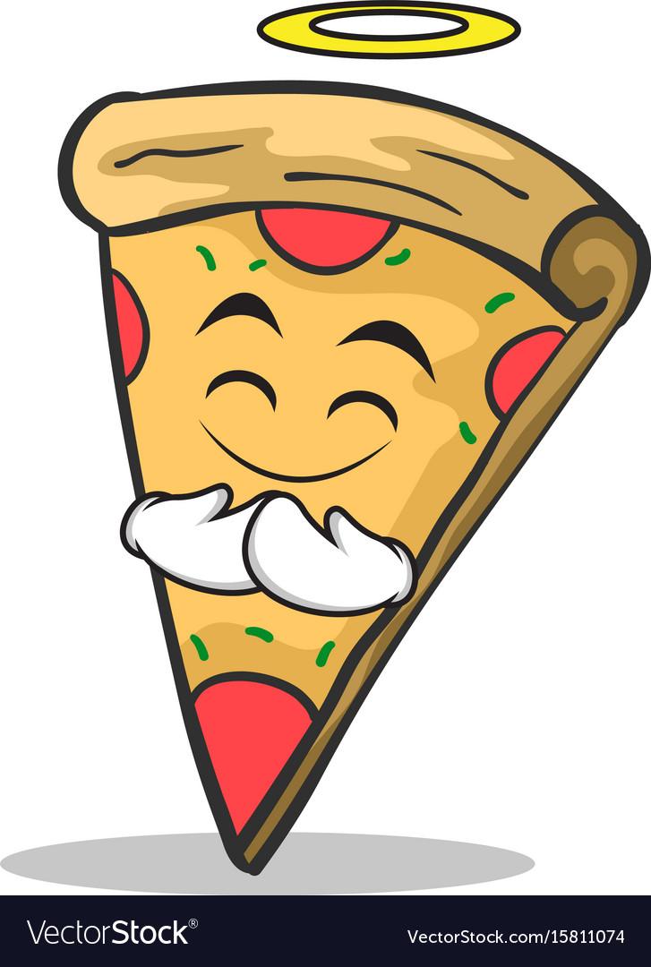 Innocent face pizza character cartoon vector image
