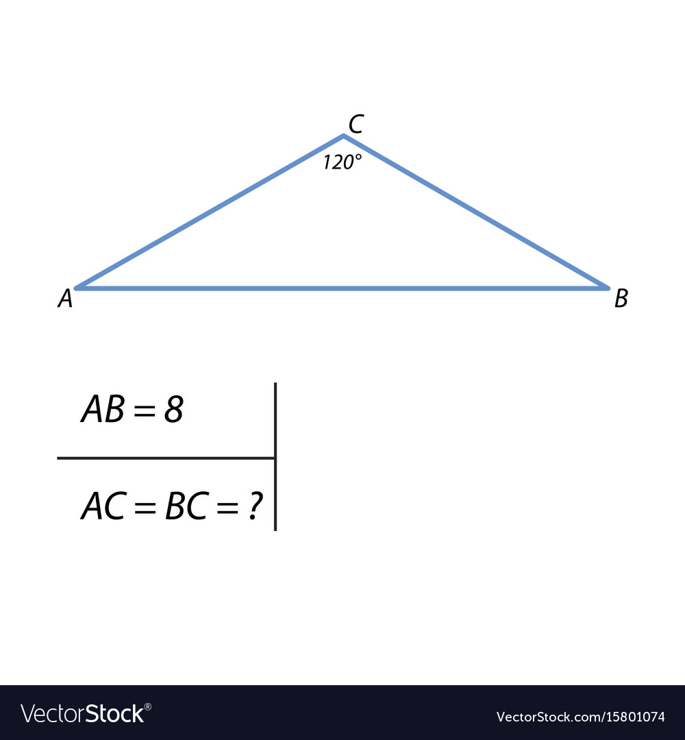 The task of finding the side of a right triangle vector image