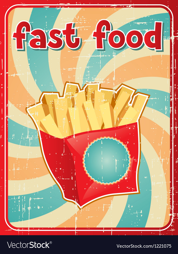 Fast food background with french fries in retro vector image