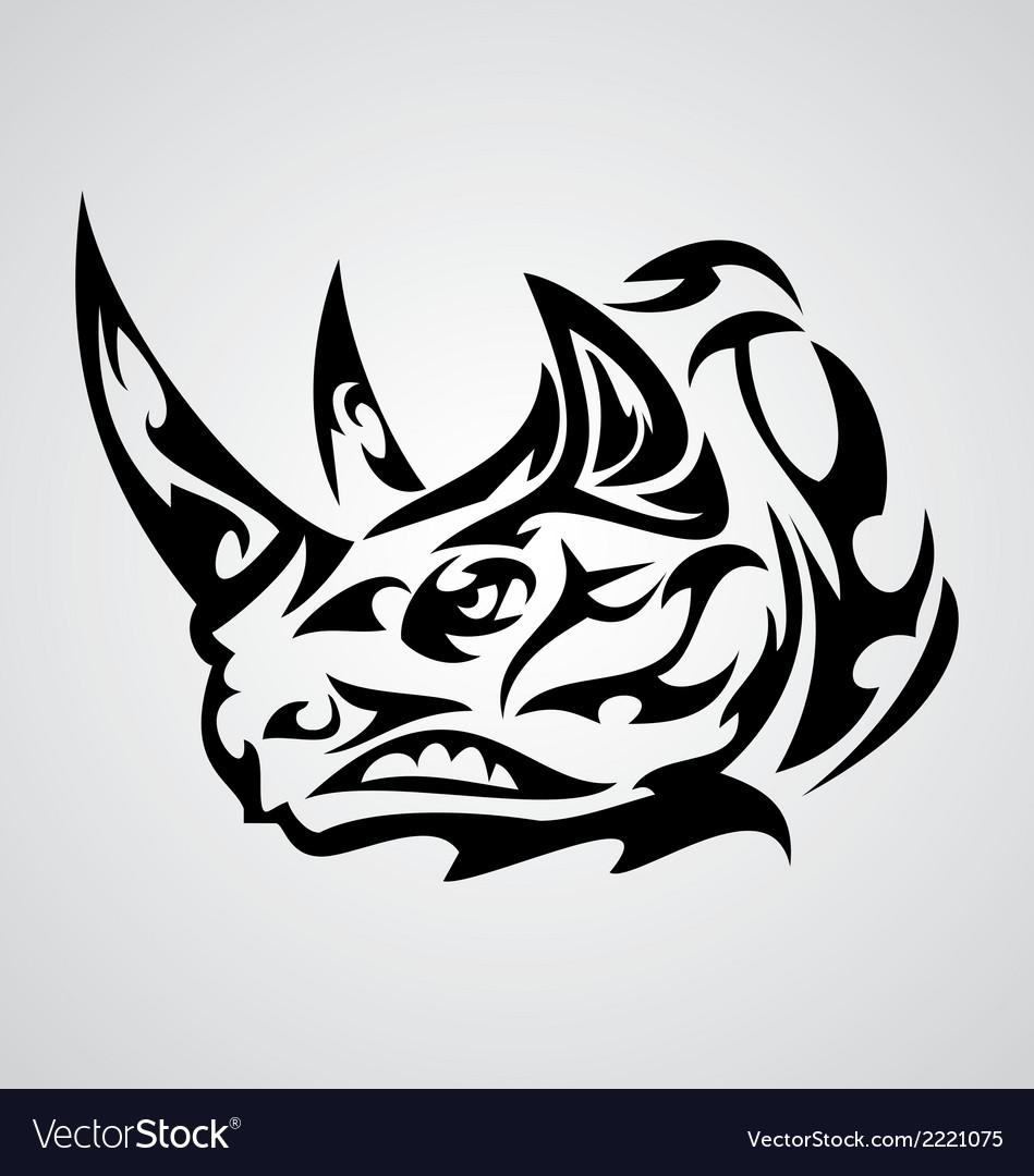 Rhino Head Tribal vector image