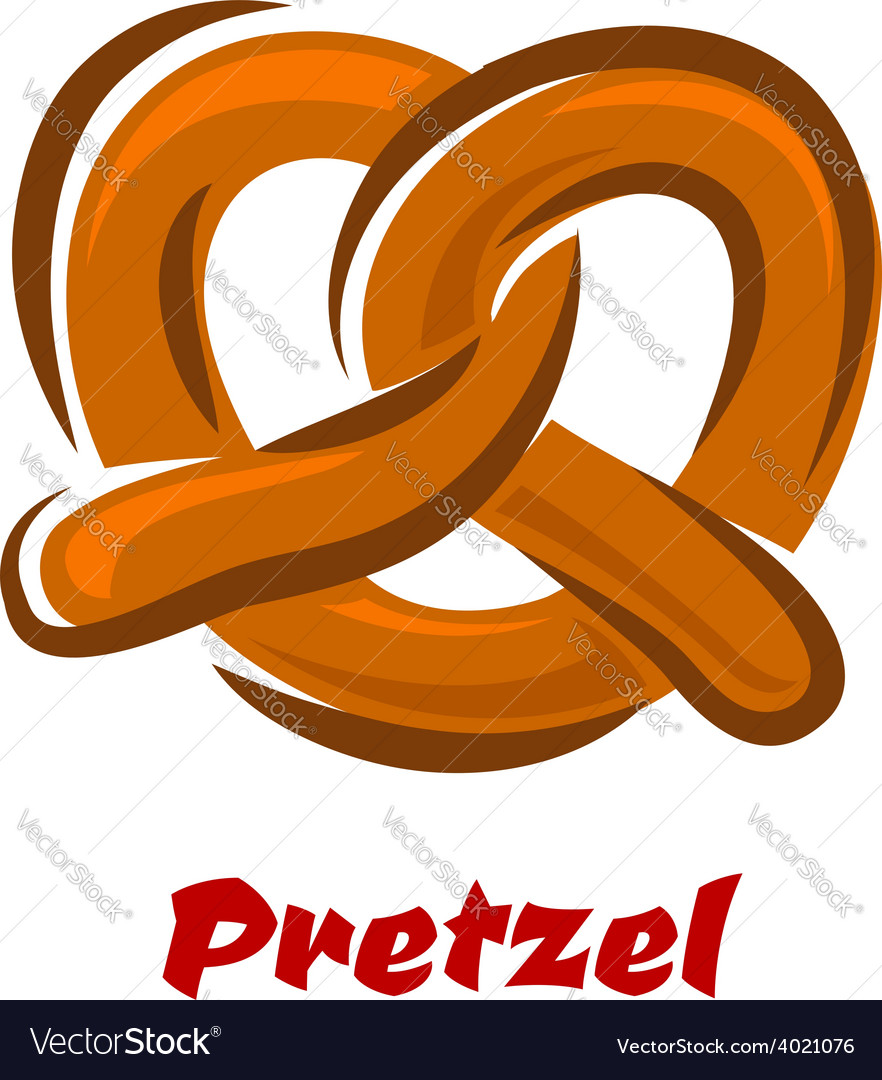 Bavarian twisted pretzel in cartoon style vector image