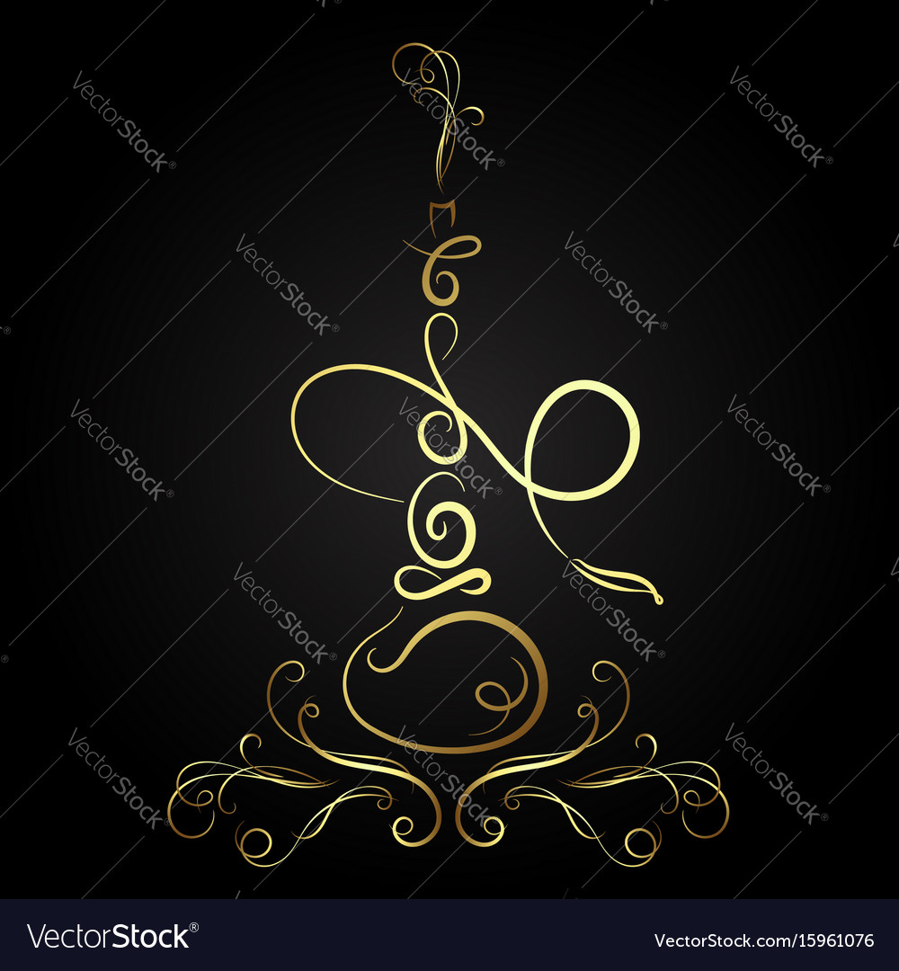 Golden hookah abstract vector image