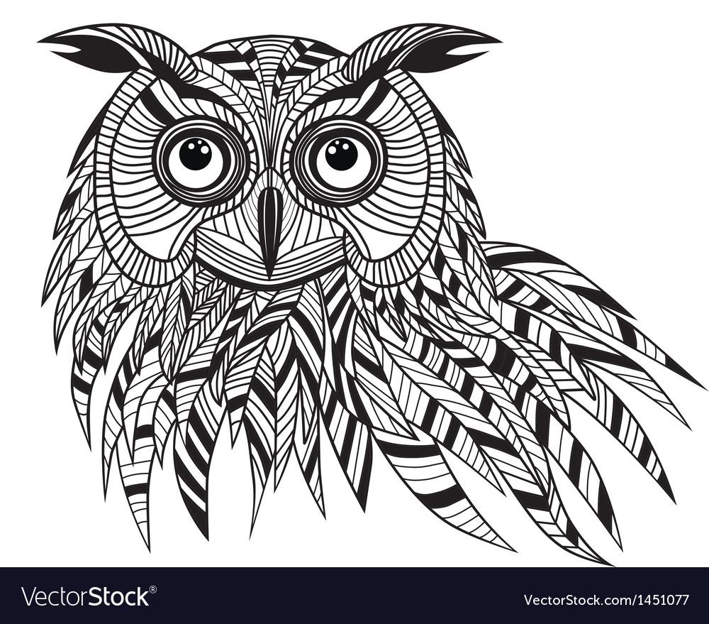 Owl bird head as halloween symbol vector image