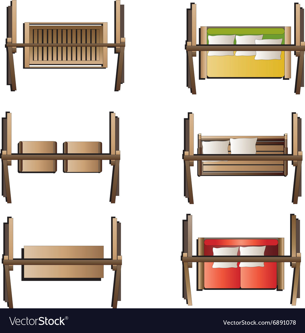 outdoor furniture swing set top view set 7 vector image