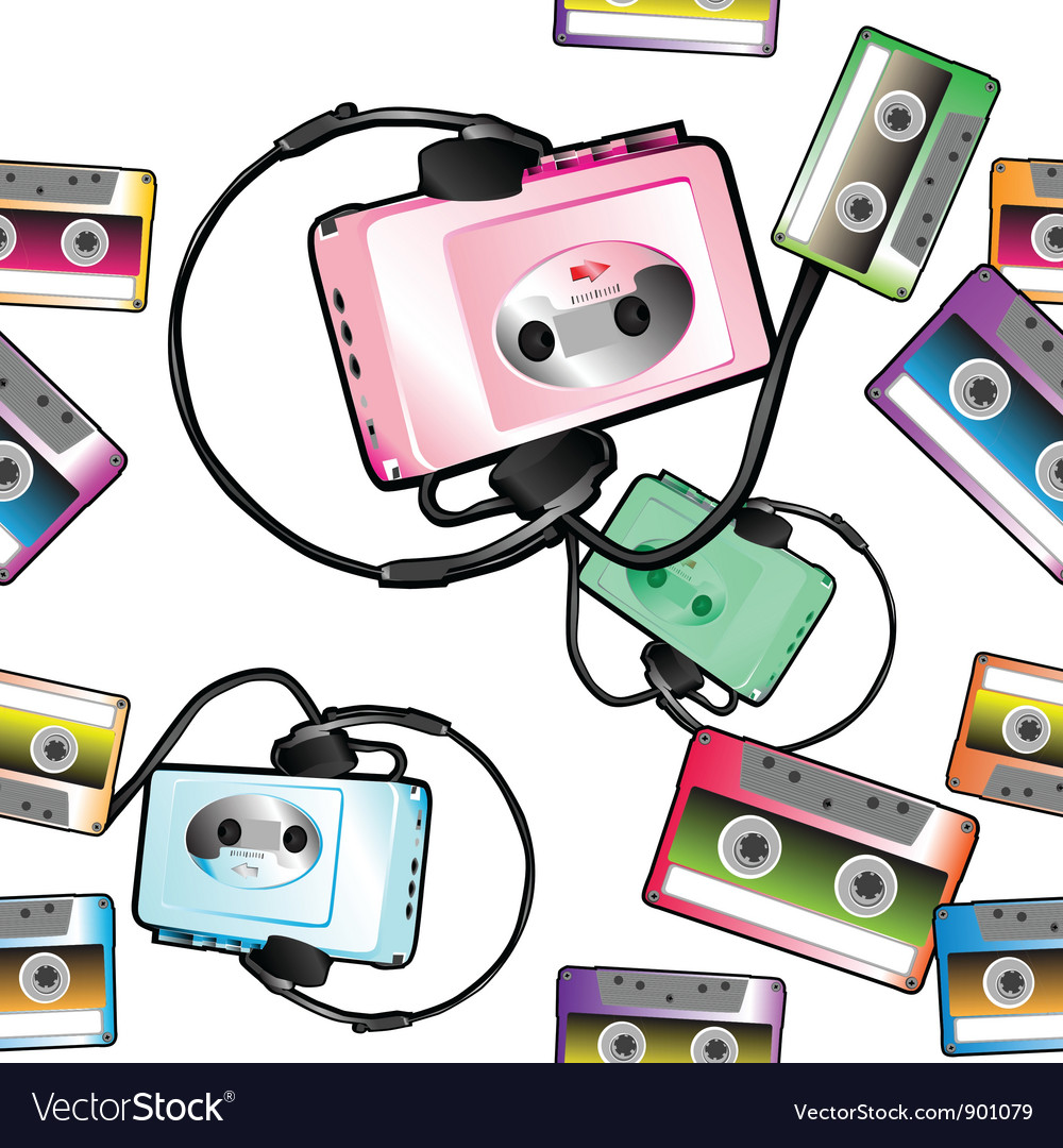 Audio tape pattern vector image