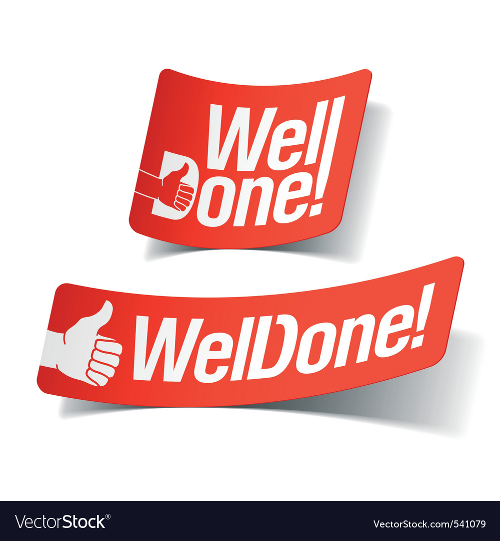 Well done label vector image