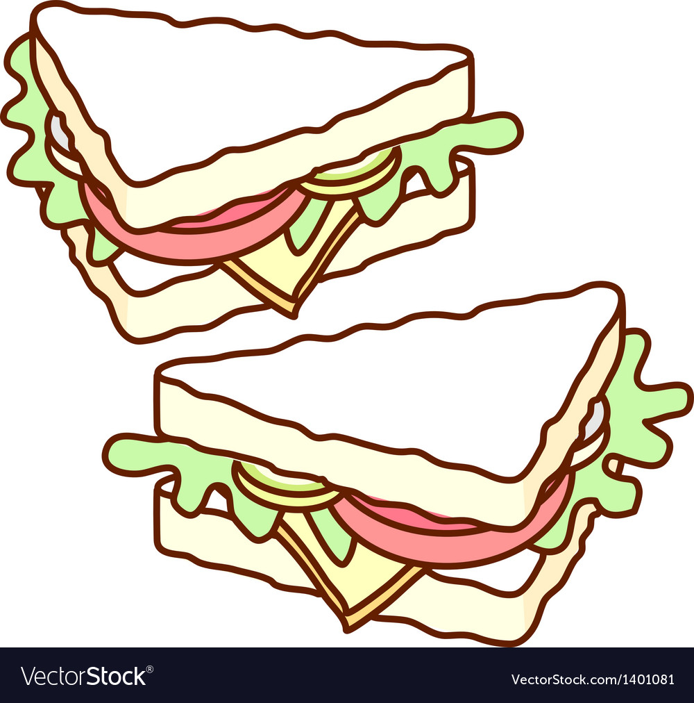 A pair of sandwich vector image