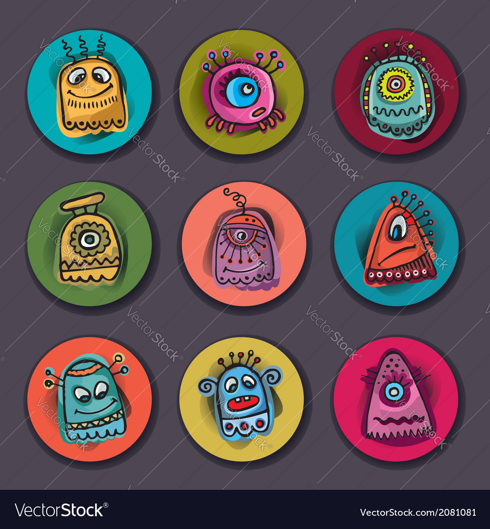 Aliens and monsters set vector image
