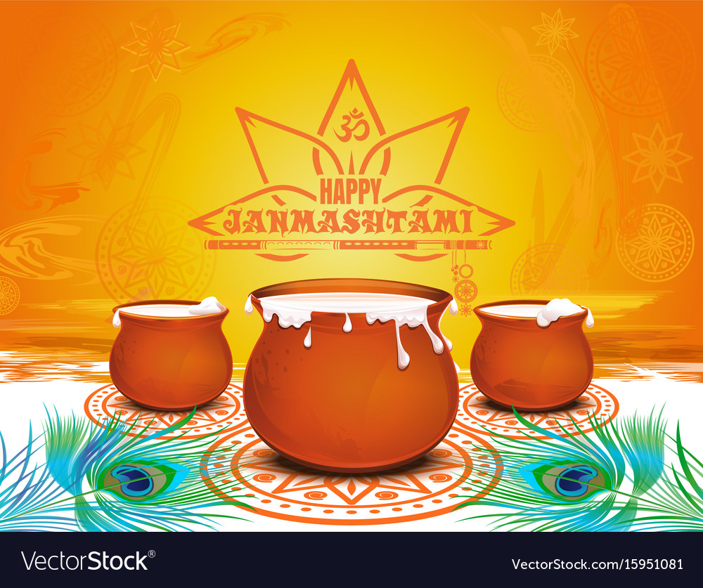 Festive background for krishna janmashtami vector image