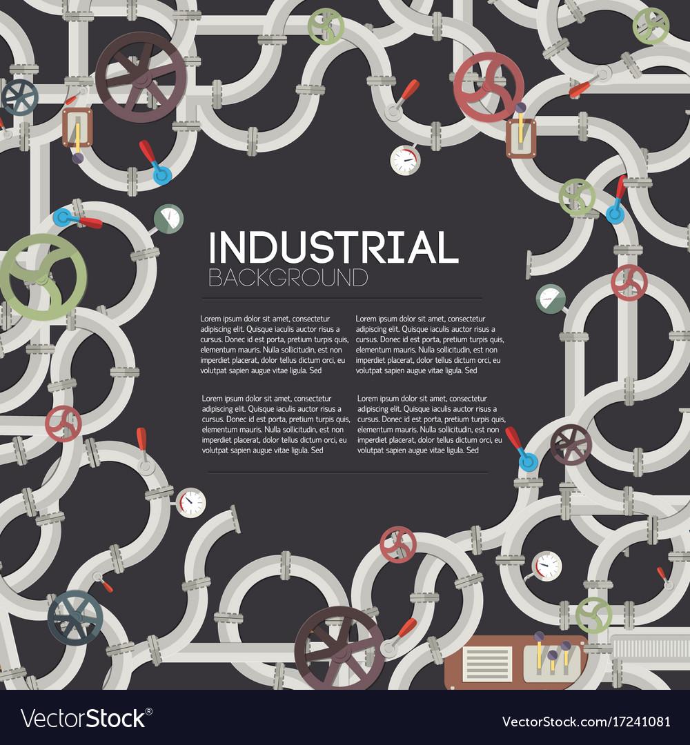 Industrial pipeline dark background vector image