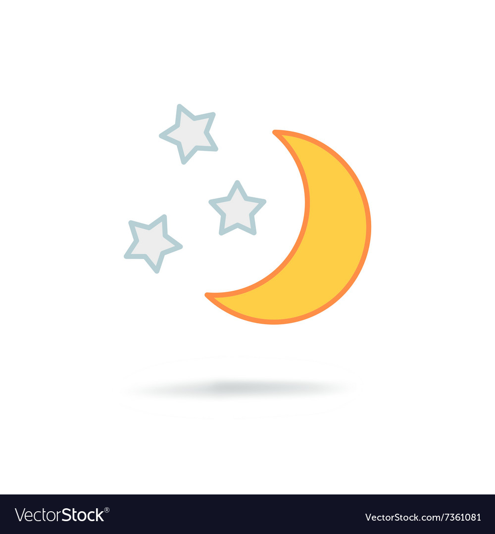 Moon and stars at night vector image