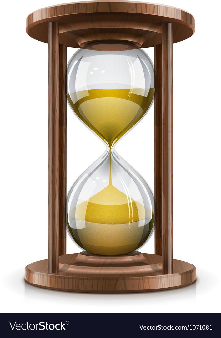 Vintage hourglass in wooden vector image