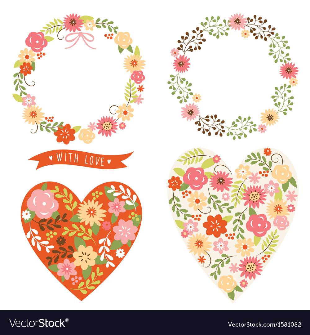 Floral wreath and heart Vector Image