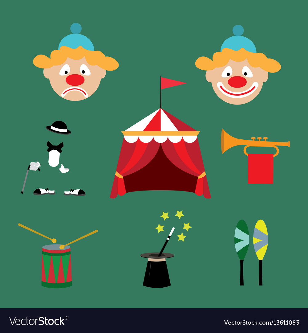 Attributes of the circus vector image