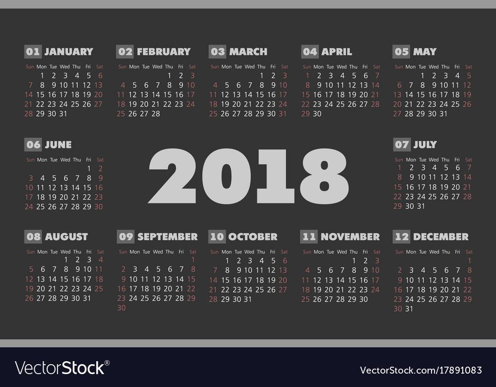 simple 2018 calendar