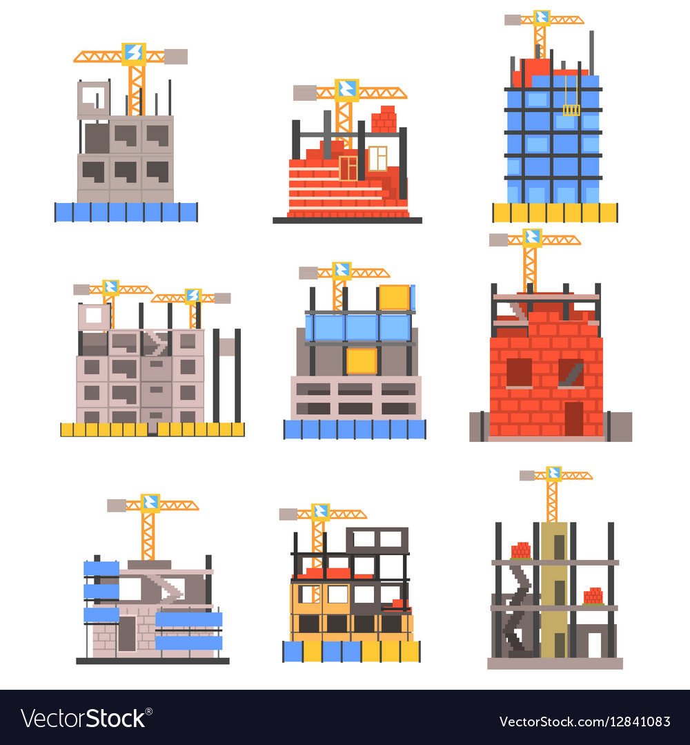 Unfinished Modern Building Construction Set With vector image
