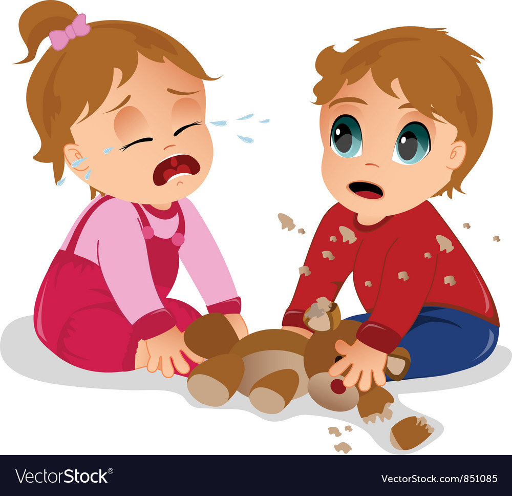 Toddlers arguing Vector Image