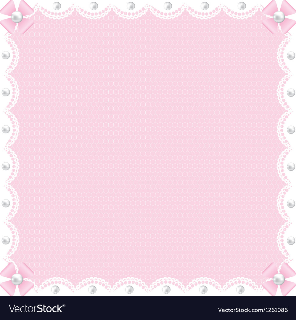 White lace background and pearls Vector Image