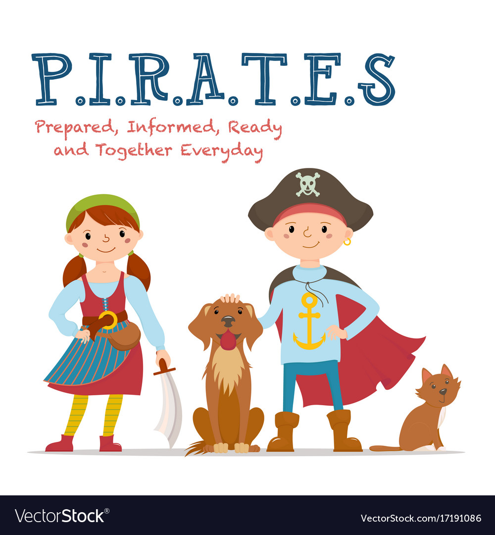 Pirate lettering poster with boy and girl pirates vector image